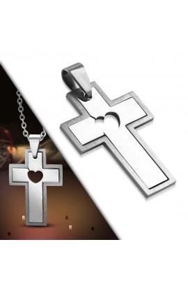 PLY1031 ST 2 Part Cut out Heart Latin Cross Pendant