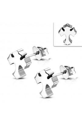 JES061 ST Fleur De Lis Cross Stud Earrings