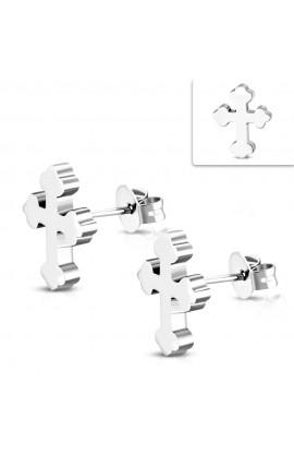 ZEM335 ST Budded Cross Stud Earrings