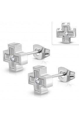 JES459 ST Plus Sign Cross Stud Earrings with Clear CZ