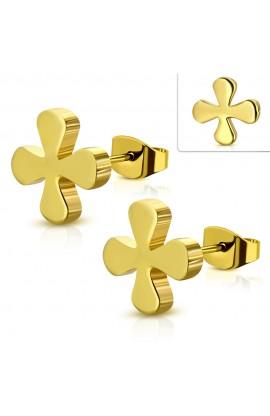 JES537 Gold Plated ST Greek Cross Flower Stud Earrings