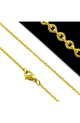 NCB563 Gold Plated ST Lobster Claw Clasp Flat Oval Link Chain