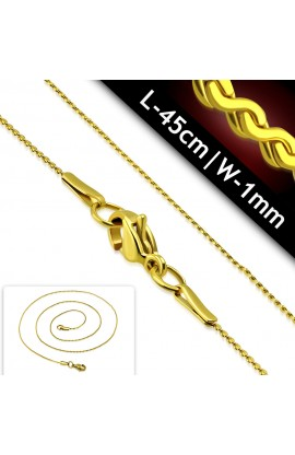 CPI089 Gold Plated ST Lobster Claw Clasp Spiral Link Chain