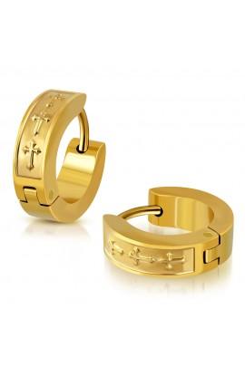 ESV549 Gold Plated ST Cross Earrings