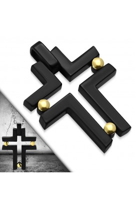 AVP237 Black ST Screw Geometric Cross Charm Pendant