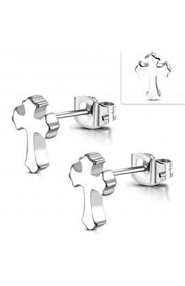JES035 ST Fleur De Lis Cross Stud Earrings