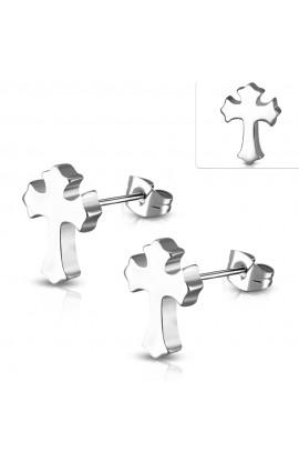 ZEM067 ST Fleur De Lis Cross Stud Earrings