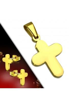 SSW078 Gold Plated ST Cross Charm Pendant & Stud Earrings