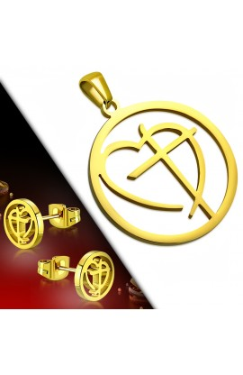 SSW083 Gold Plated ST Cross Love Heart Circle Charm Pendant & Stud Earrings