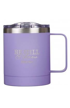 Mug SSteel Camp Purple Be Still & Know Psa 46:10