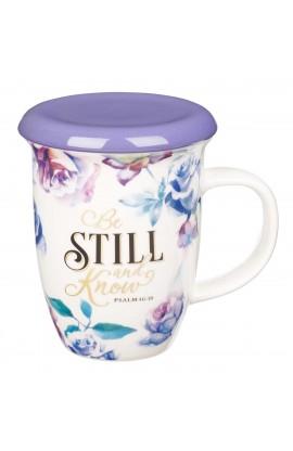 Mug Lidded Purple Be Still Psa 46:10