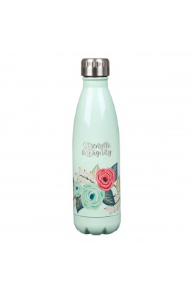 Water Bottle Stainless Steel Teal Strength & Dignity