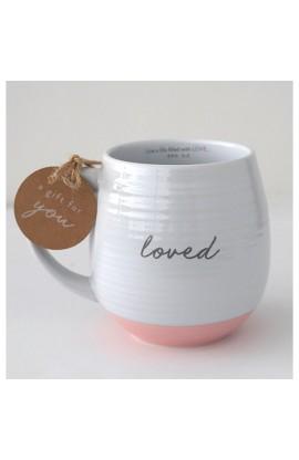 Ceramic Mug Textured White Loved