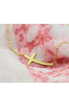 CURVE CROSS BRACELET (GOLD)