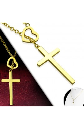 HEART CROSS NECKLACE (GOLD)
