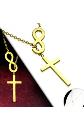 INFINITY CROSS NECKLACE (GOLD)