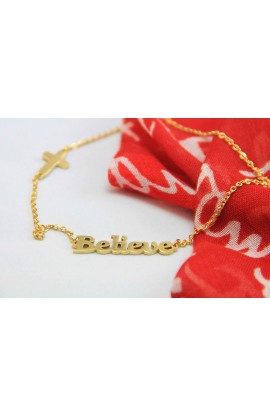BELIEVE NECKLACE GOLD PLATED