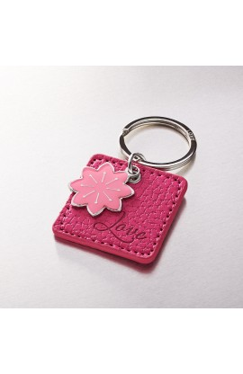"""""""Love"""" Faux Leather Keyring with Flower Charm"""