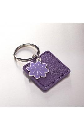 """Faith"" Faux Leather Keyring with Flower Charm"